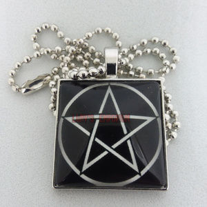 Square Pentagram Pentacle Glass Necklace